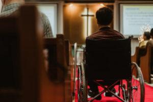 Man in wheelchair at church